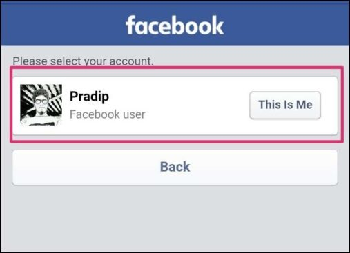 choose facebook account