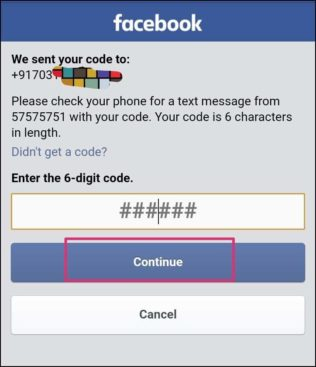 enter Fb password reset code