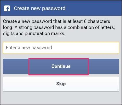 enter facebook new password