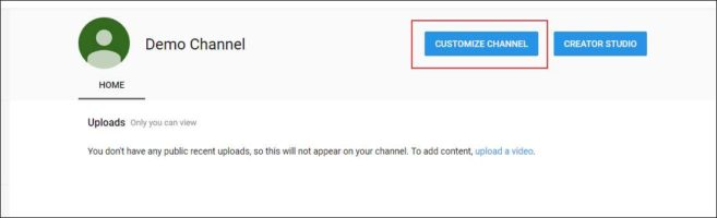 customize youtube channel