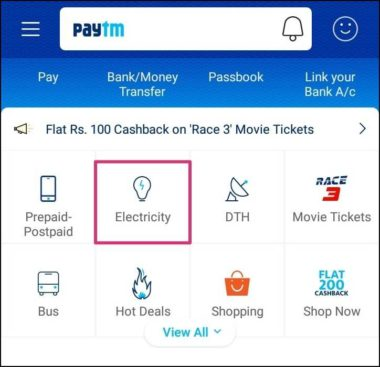 paytm electricity section